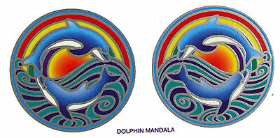 Dolphin Mandala Sunlight  Small Window Decals