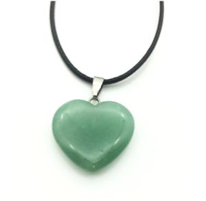 UK Beautiful Aventurine Crystal Gemstone Heart Pendant Black Cord Necklace.