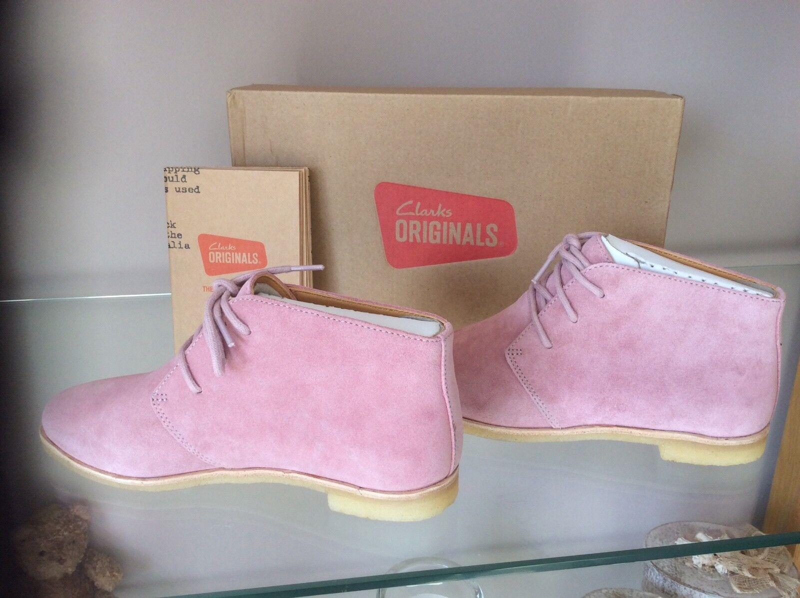 New Size 3 UK Clarks Originals Phenia Desert Vintage Pink Lace Up Suede Boots