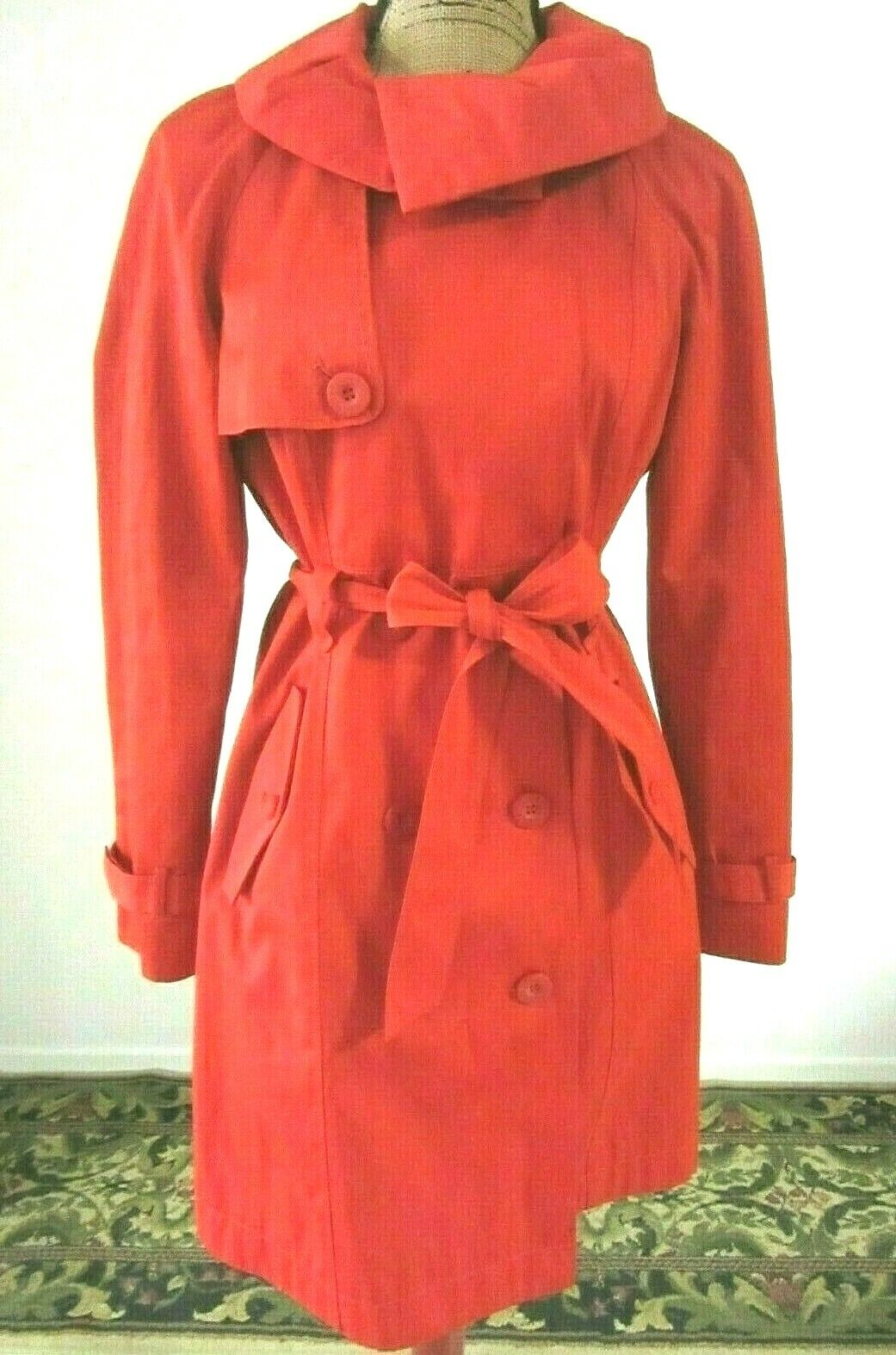 Women's Red Double Breasted Trench Coat Unique US 8 EU 40 Betty Jackson Black 12
