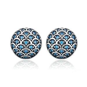 Boucles-D-039-Oreilles-925-Argent-Sterling-Legende-de-le-Mer-Bleu-Zircone-Femmes