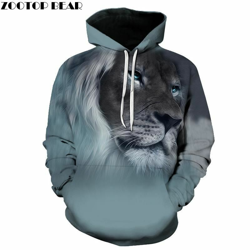 2017 Autumn Winter Fashion Lion Ancient Digital Printing Men Women Hooded Hoodie
