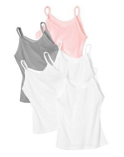 Assorted Colors 5-Pack Hanes Girls Cami Cotton Tank Tops Size S-XL