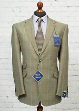 Carabou Platinum Windowpane Check Tweed Blazer Brown Beige Jacket 40R