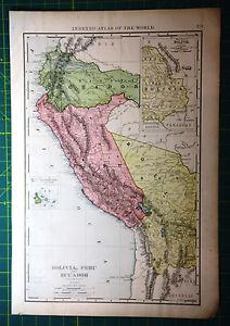 Bolivia peru ecuador original vintage 1898 antique rand mcnally image is loading bolivia peru ecuador original vintage 1898 antique rand gumiabroncs Image collections