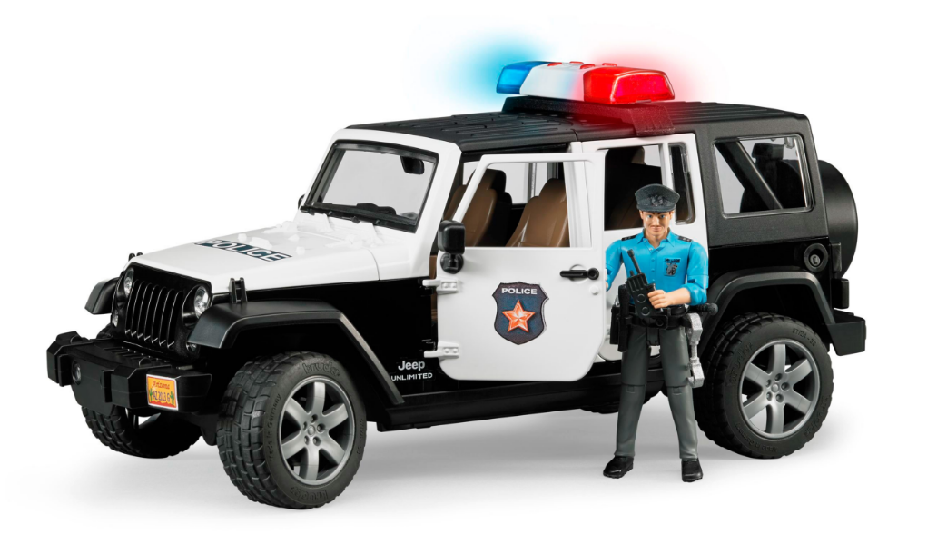 Jeep POLICE Wrangler Unlimited Rubicon and a cop cop cop Bruder Toy Car Model 1 16 1 16 7818b8