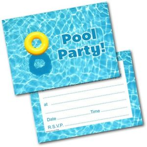 Pool Swimming Party Birthday Party Invitations Invites Pack of 20