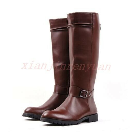 Equestrian Zip Men Shoes Faux Leather Motorcycle Military Riding Knee High Boot