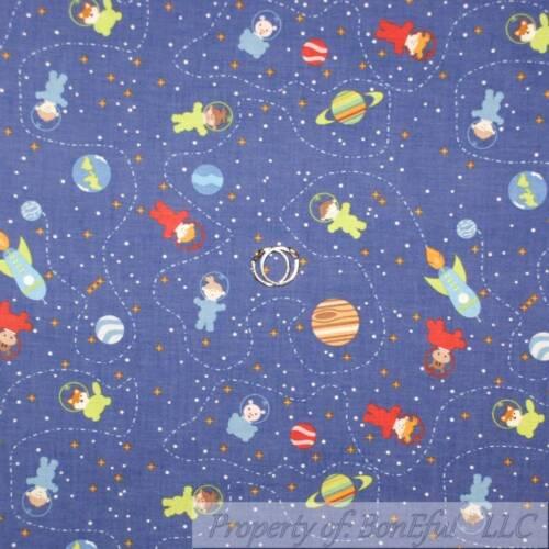 BonEful Fabric FQ Cotton Quilt Navy Blue Planet Space STAR Galaxy Kid Sky Cloud