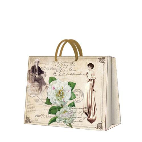D Printed Paper Gift Present Bag MR AND MRS MARTINEZ Vintage Roses Horizontal