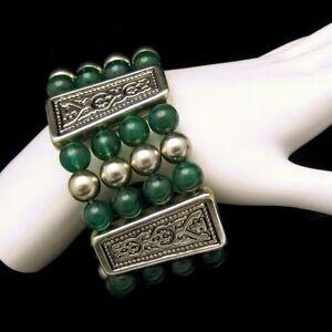 Vintage-Extra-Wide-4-Strand-Egyptian-Bracelet-Green-Lucite-Beads-Engraved-Panels