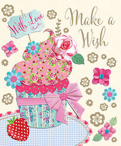 make a wish with love female open lovely cake flower design happy