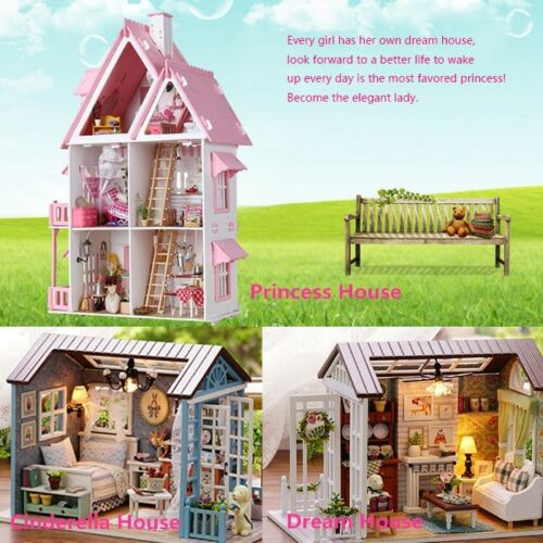 Wooden Handcraft Girls Dream-house with LED Light Fresh Birthday Girls Gift