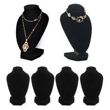 4 Pieces Black Velvet Necklace Female Bust Display Jewelry Stands Holder
