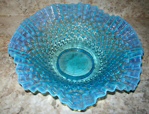 "Large Vintage Fenton Blue Opalescent Hobnail Glass Ruffled Bowl Basket 11""x 3.5"""