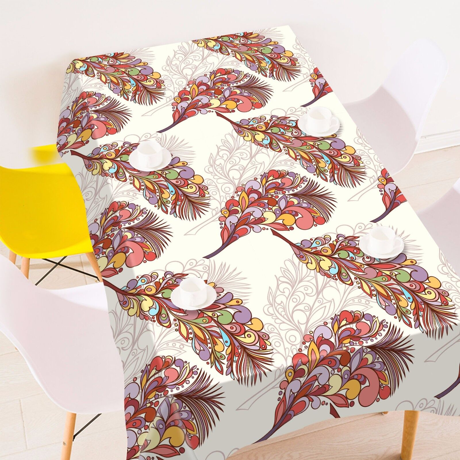 3D Feather Tablecloth Table Cover Cloth Birthday Party AJ WALLPAPER UK Lemon