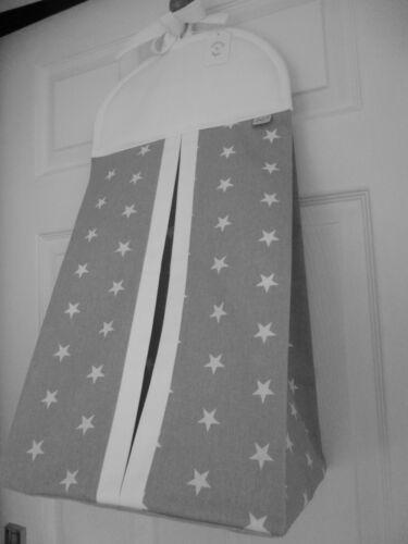 Bespoke Nappy Stacker Grey/White STAR Cotton - Nursery Shower Baby Gift - NEW