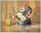 VINTAGE ORIGINAL 1930S ART PRINT ASIAN VASE FLORAL 10X8