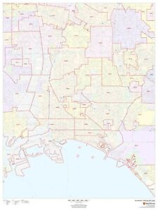 Details about Long Beach, California ZIP Codes Laminated Wall Map (MSH)