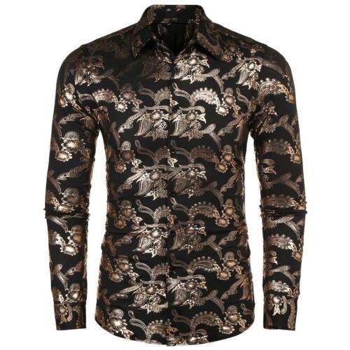 Herren Umlegekragen Langarm Paisley Printed Shirt CHPH