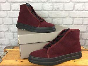 H By Hudson velvet burgundy berwick lace-up chukka boots RRP-£75