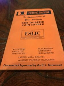 VINTAGE-QUARTER-COIN-SAVER-BOOK-1st-FEDERAL-SAVINGS-amp-LOAN-OF-HAZLETON-PA