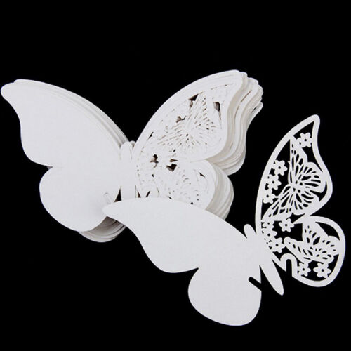 50 Butterfly Wedding Name Place Cards For Wine Glass Laser Cut Pearlescent Card*