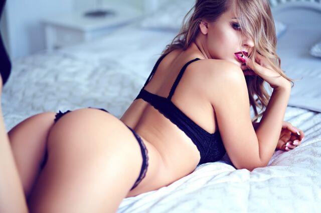 Lingerie models in bed