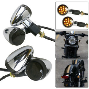 4x-Amber-Chrome-Motorcycle-Bullet-Front-Rear-Turn-Signal-Indicator-Light-AU
