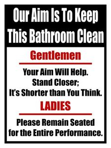 Details About Our Aim Is To Keep This Bathroom Clean Metal Sign