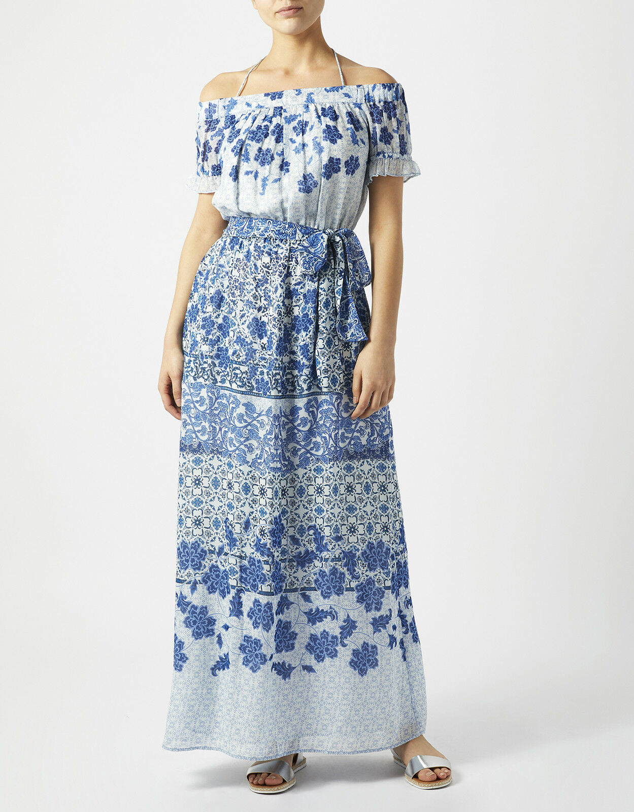 rotUCED   BNWT MONSOON Riley Floral Print Maxi Dress Größe 10 (Blau).   RRP