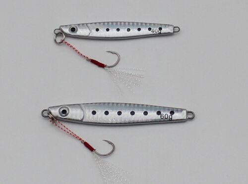 3D Silver Jigs Butterfly Metal Jig Fishing Lure Snapper Jigging Tuna Lures 5pcs