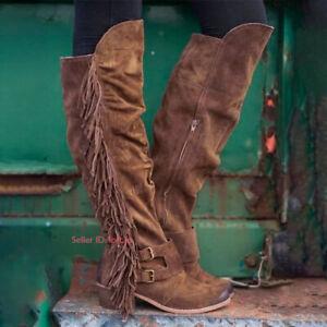 UK Ladies Women Mid-Calf Boots Velvet Low Heel Under Knee Casual Slouch Boots