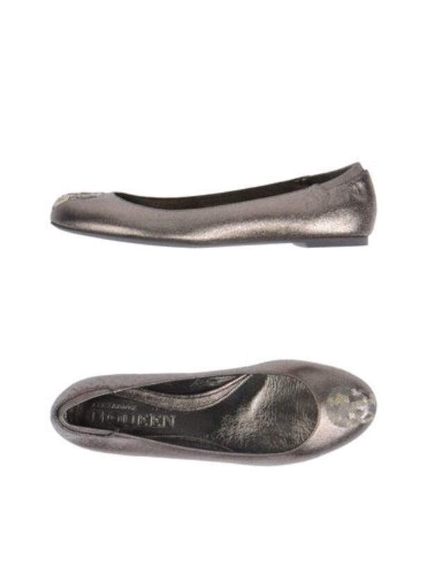 Nuevo PVP PVP PVP  560 Alexander Mcqueen Metálico De Cuero Cráneo Zapatos Flats 40 Poste LIBRE  envío gratuito a nivel mundial