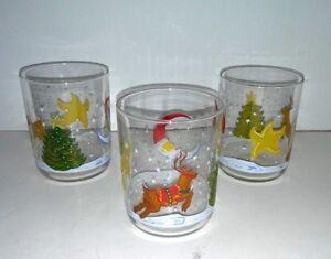 3-Vintage-Libbey-Glasses-Set-Christmas-Holiday-14-Oz-Tumblers-Barware-RARE