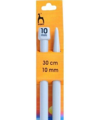 Pony agujas de tejer de punto único-Tamaño 10mm X 30cm-En Pares-P32669