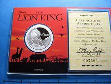 LION KING DISNEY 1994 CIRCLE OF LIFE 999 SILVER COIN RARE VERY SHARP CASE COA #C