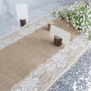 ... 5Pcs Burlap Table Runner White Lace Jute Hessian