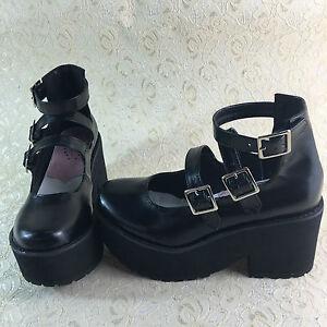 Goth Ballerinas Riemen Gothik Halb Schuhe Vintage Gothic Damen nNPkX8O0w