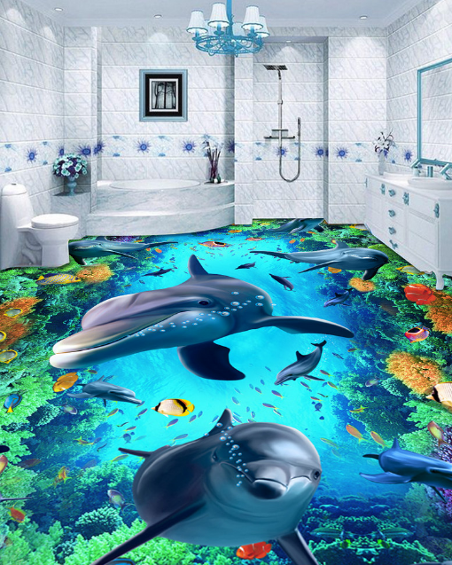 3D Dolphin Coral Fish 82 Floor WallPaper Murals Wall Print Decal AJ WALLPAPER US