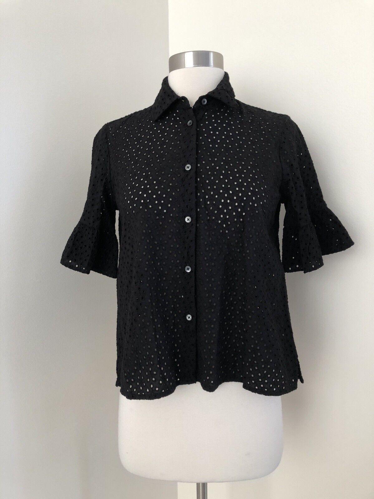 New Madewell Eyelet Bell-sleeve Shirt Sz XS G4889 True schwarz