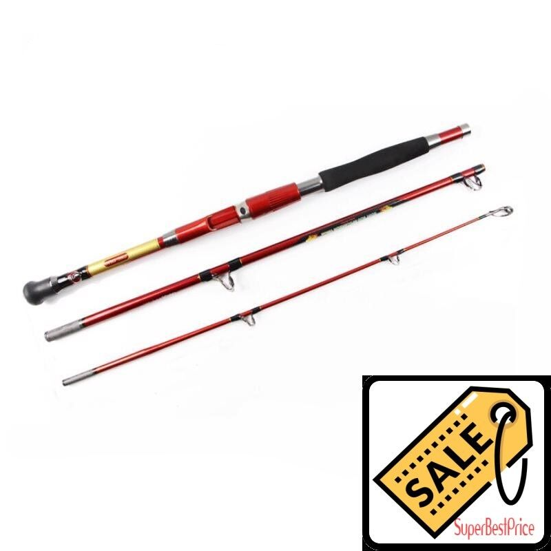 Carbon Fiber Spinning Jigging Boat Trolling Fishing Rod 3 Sections Fishing Rods