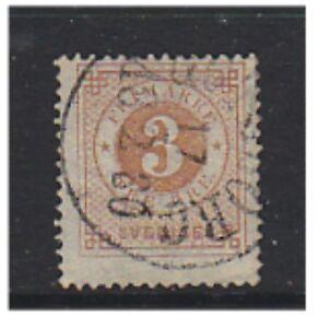 Sweden - 1877/8, 3 ore (Perf 13) - G/U - SG 16ab/b (h)