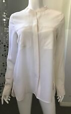 New Vince Silk Mandarin Collar Button Front Blouse Off White Ivory Sz 6 M