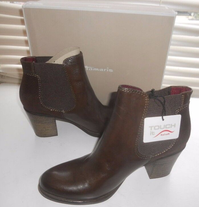 New Tamaris Germany  Art to Wear  'Tora' Mocca 40 Chelsea Heeled Boot 40 Mocca 031d8d