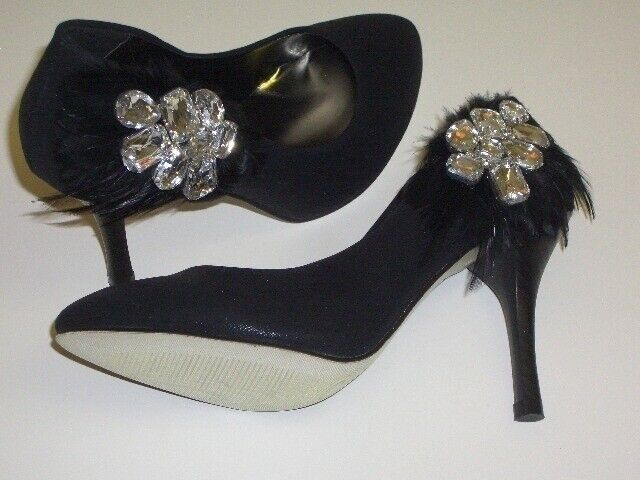 Black Satin Evening shoes High Heels Shannen B Feather Rhinestone 35 Black NEW