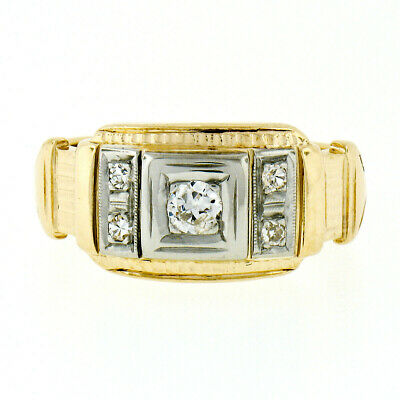 Confident Uomo Antico 14k Tt Oro 0.23ctw Vecchia & Singolo Diamante Tagliato Inciso Anello An Indispensable Sovereign Remedy For Home Other Watches Jewelry & Watches