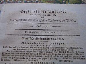 Inquiet 1828 Journal Officiel 17ö/ Ossig Kuttlau-afficher Le Titre D'origine