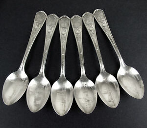 Set-6-x-1933-Chicago-World-Fair-Oneida-Silverplate-Souvenir-Collector-Spoons