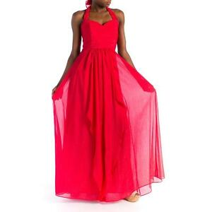 e7218e1d780a Image is loading Laundry-Red-Chiffon-Convertible-Halter -Strapless-Sweetheart-Gown-